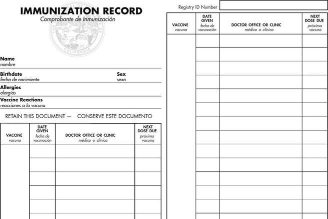 Immunization Record Template California