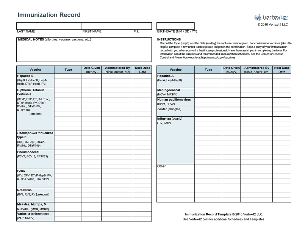Immunization Record Word Template