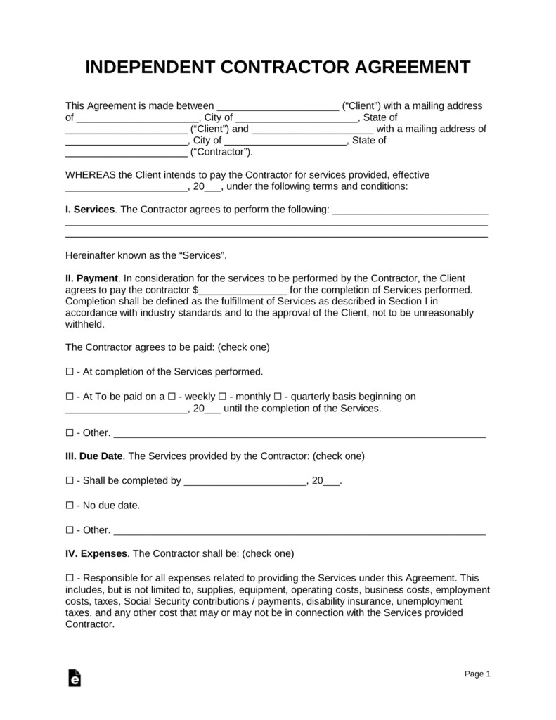 Independent Contractor Contract Template Free