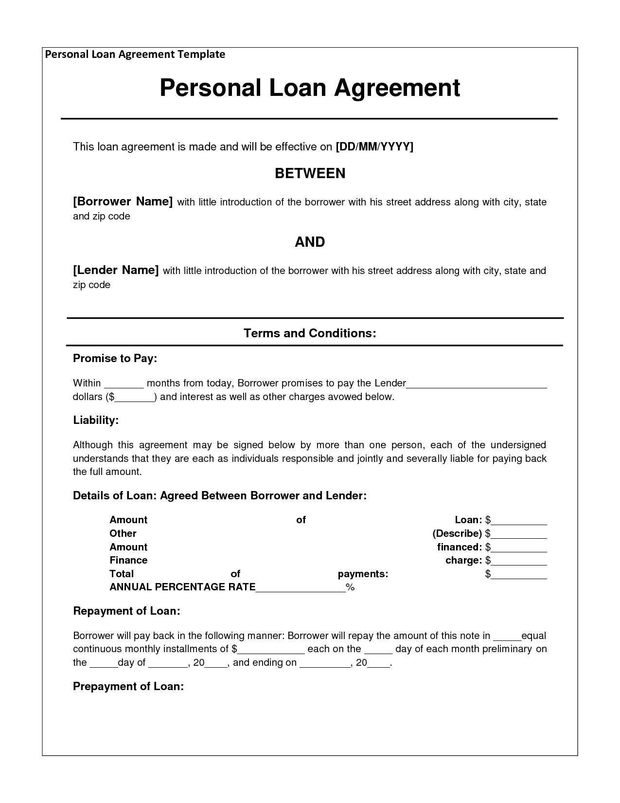 Individual Loan Agreement Template