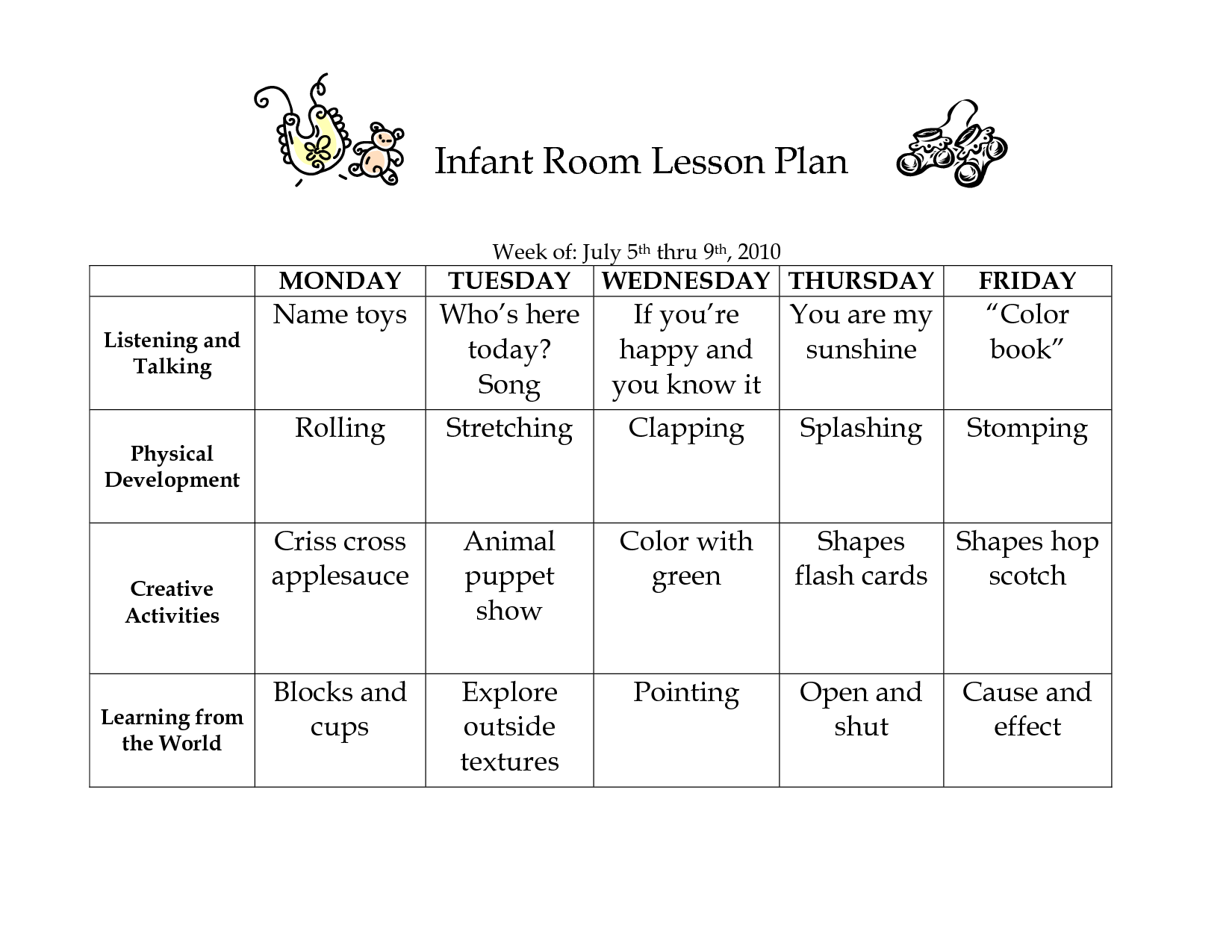 Infant Room Lesson Plan Template