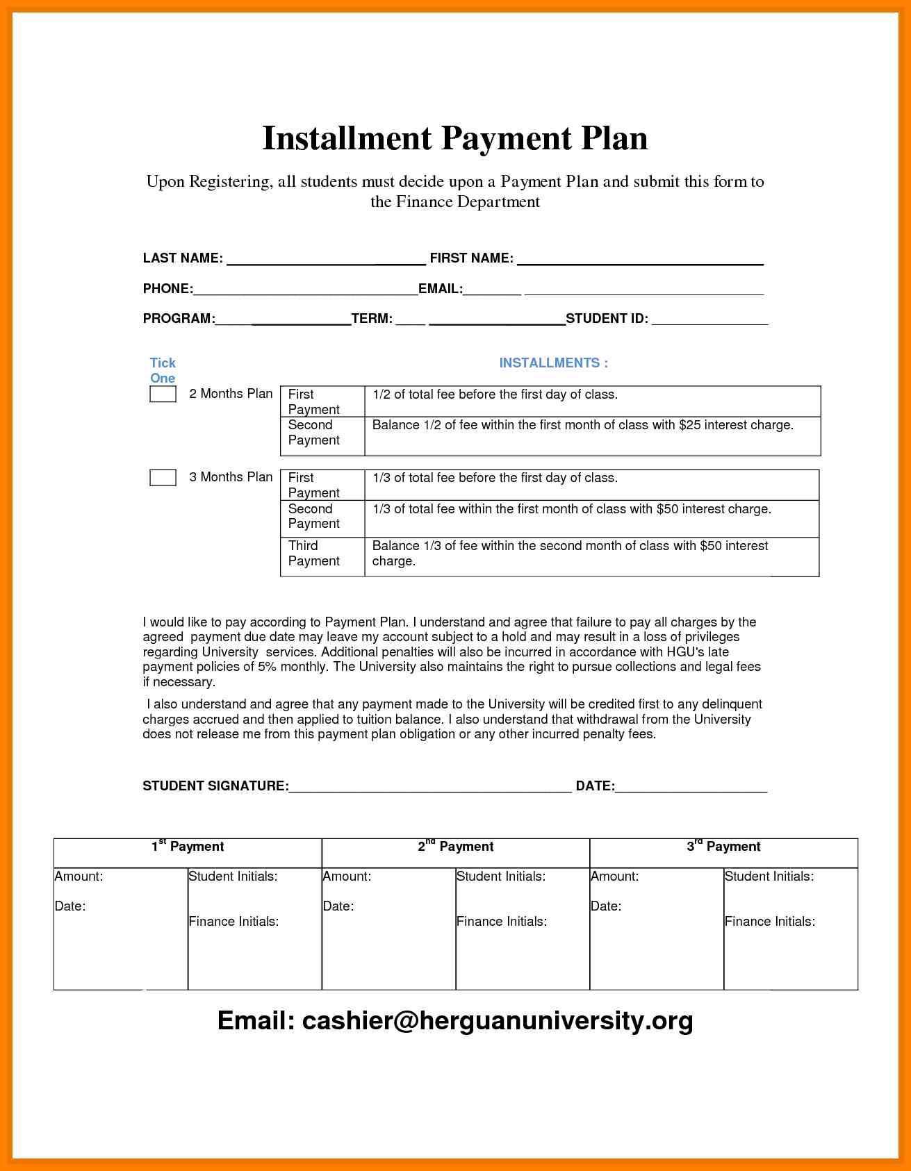 Installment Payment Agreement Template Doc