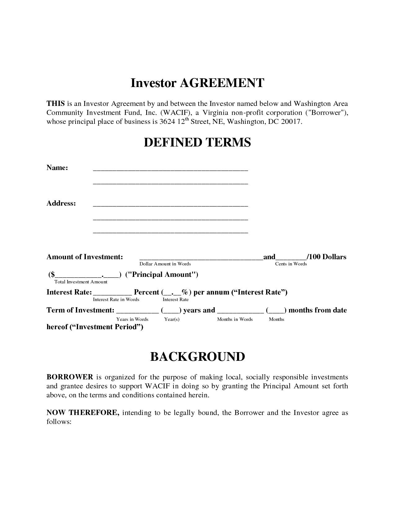 Investment Agreement Investment Contract Template