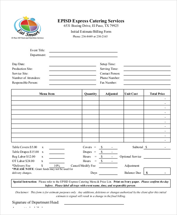 Invoice Template For Catering Services