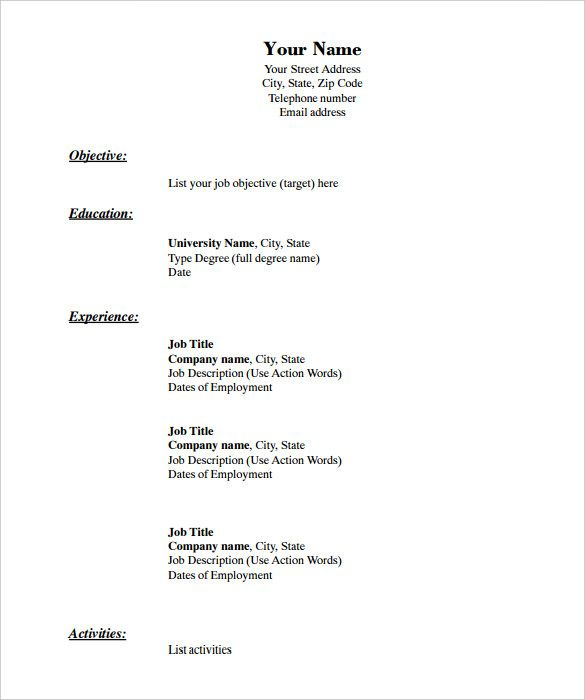 Job Blank Resume Templates