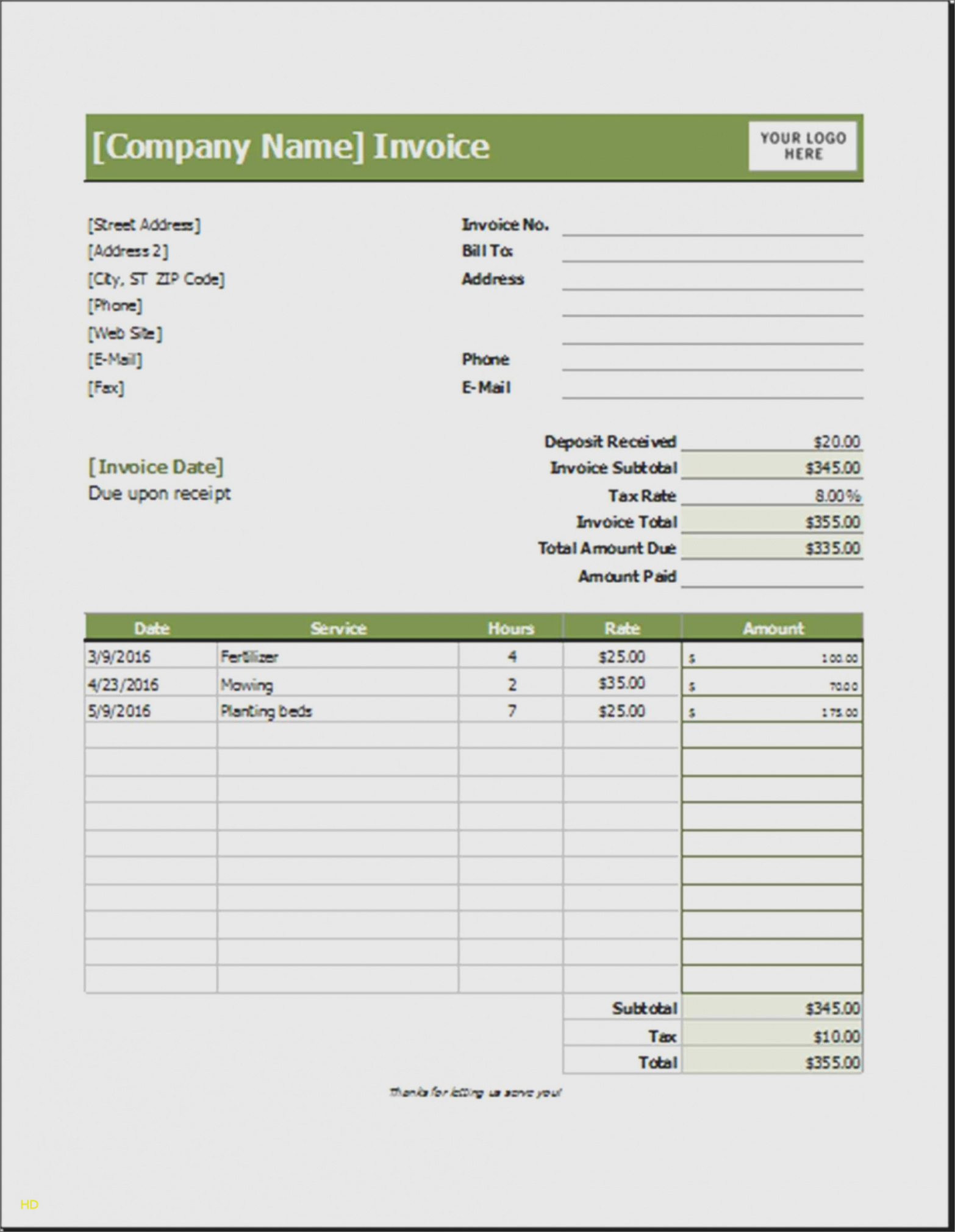 15 Elegant Landscaping Invoice Template Excel | Free Invoice Landscape Invoice Template Excel