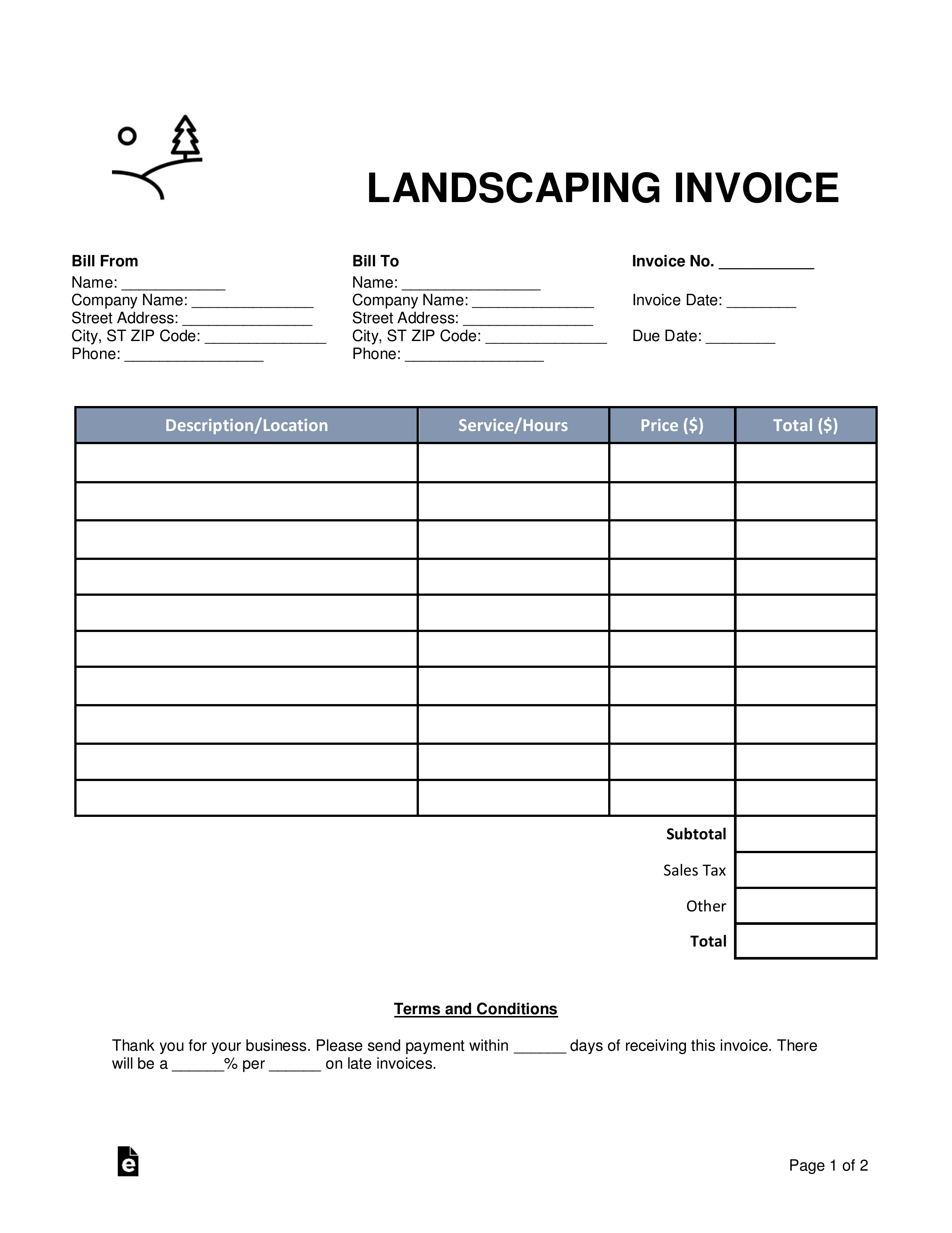 Landscaping Invoice Template Free