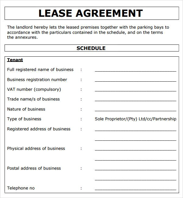 Lease Agreement Template Word South Africa