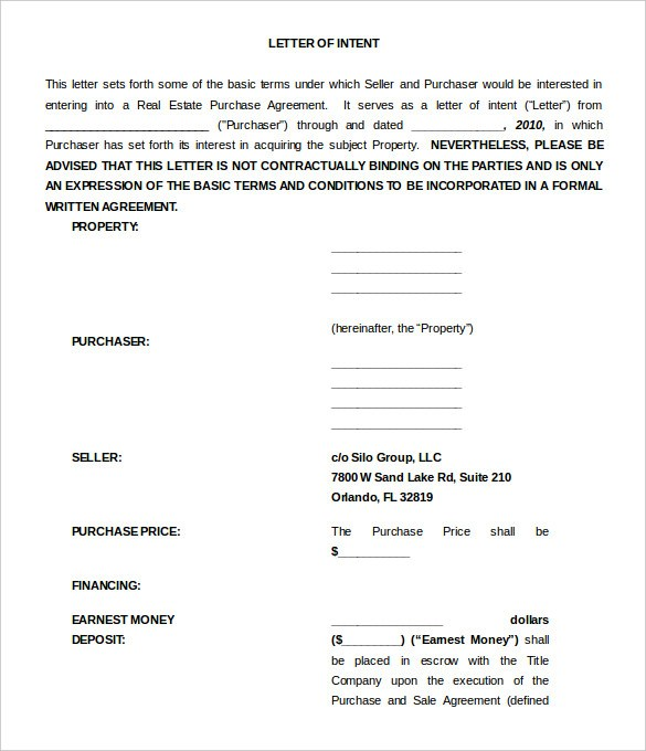 Letter Of Intent Real Estate Template Word