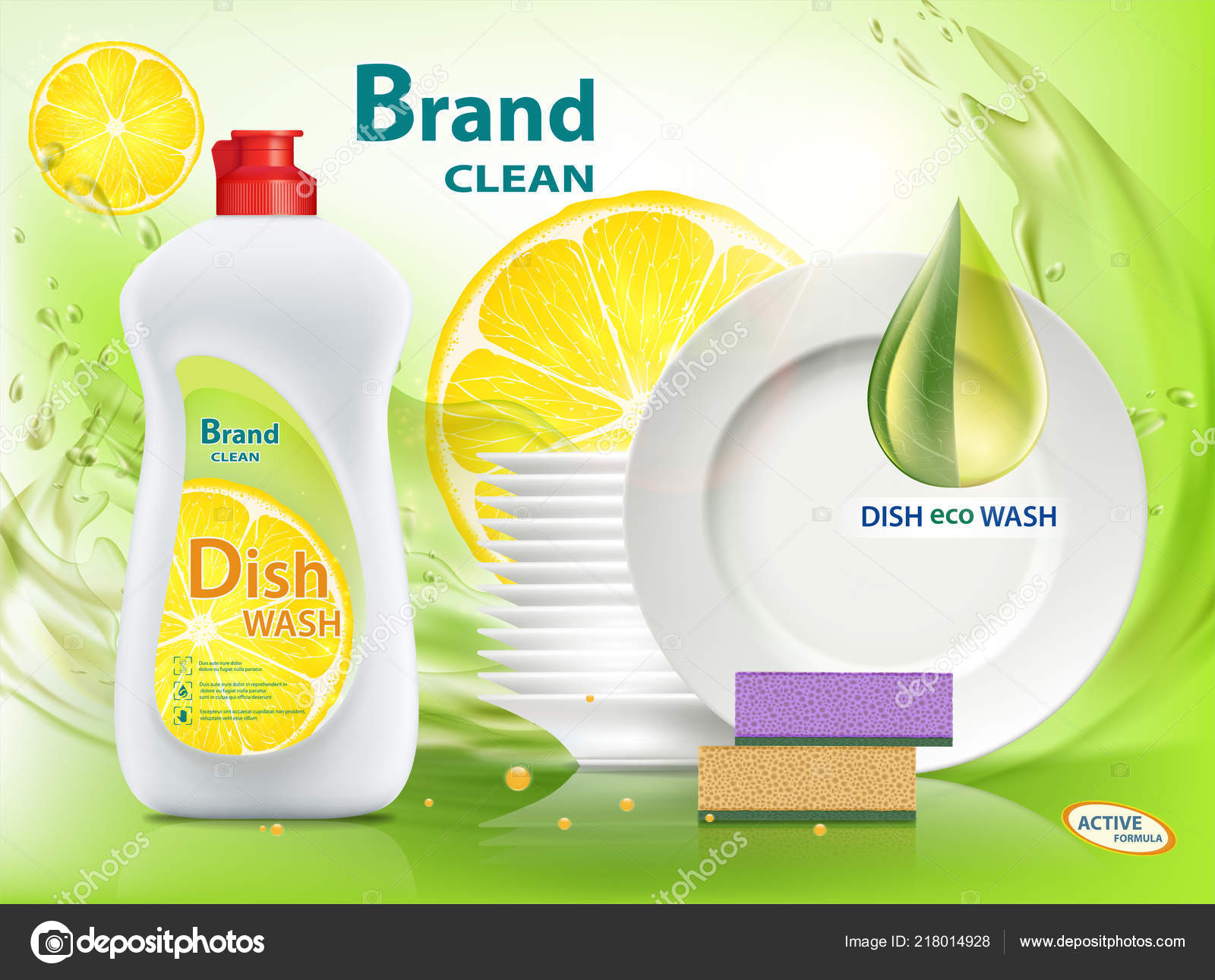Dishwashing Liquid Soap With Lemon. Packaging With Template Labe