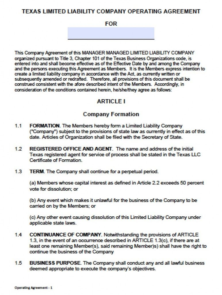 Llc Partnership Agreement Template Free