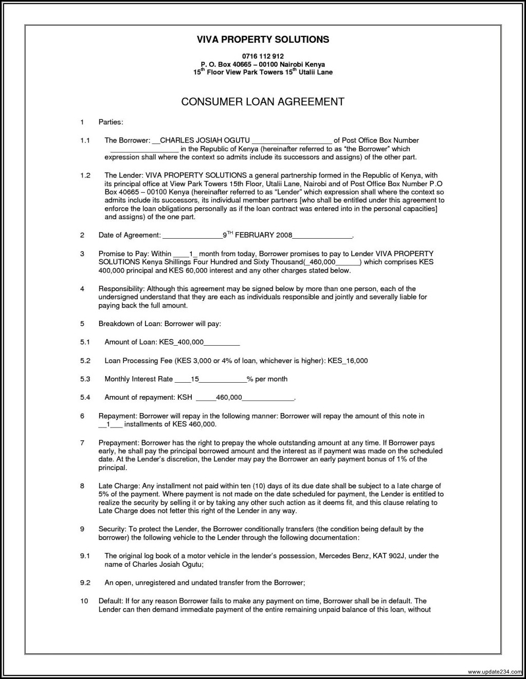 Loan Agreement Template Word South Africa
