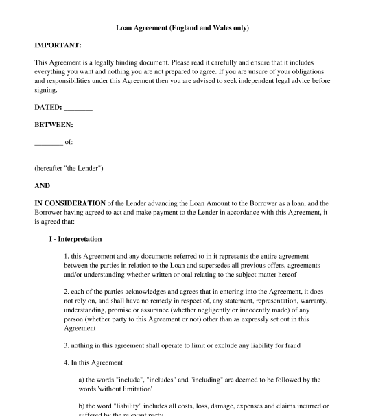 Loan Document Template Canada