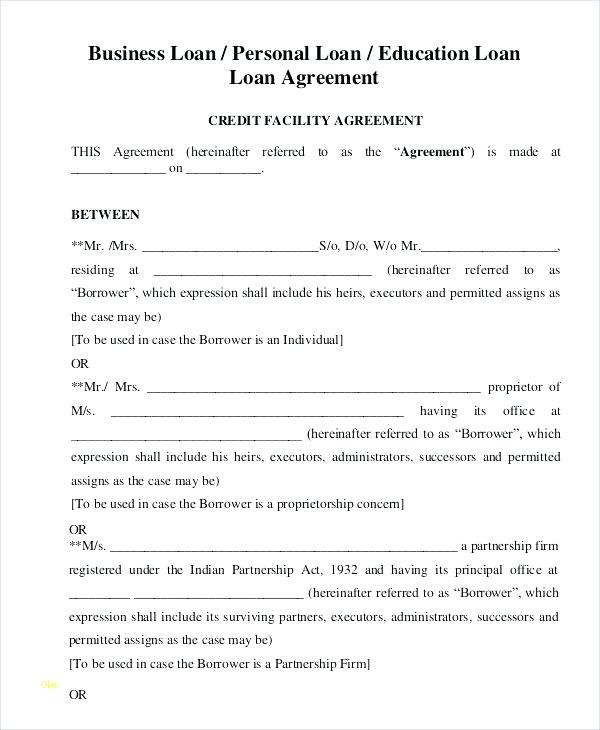 Loan Document Template Free Nz