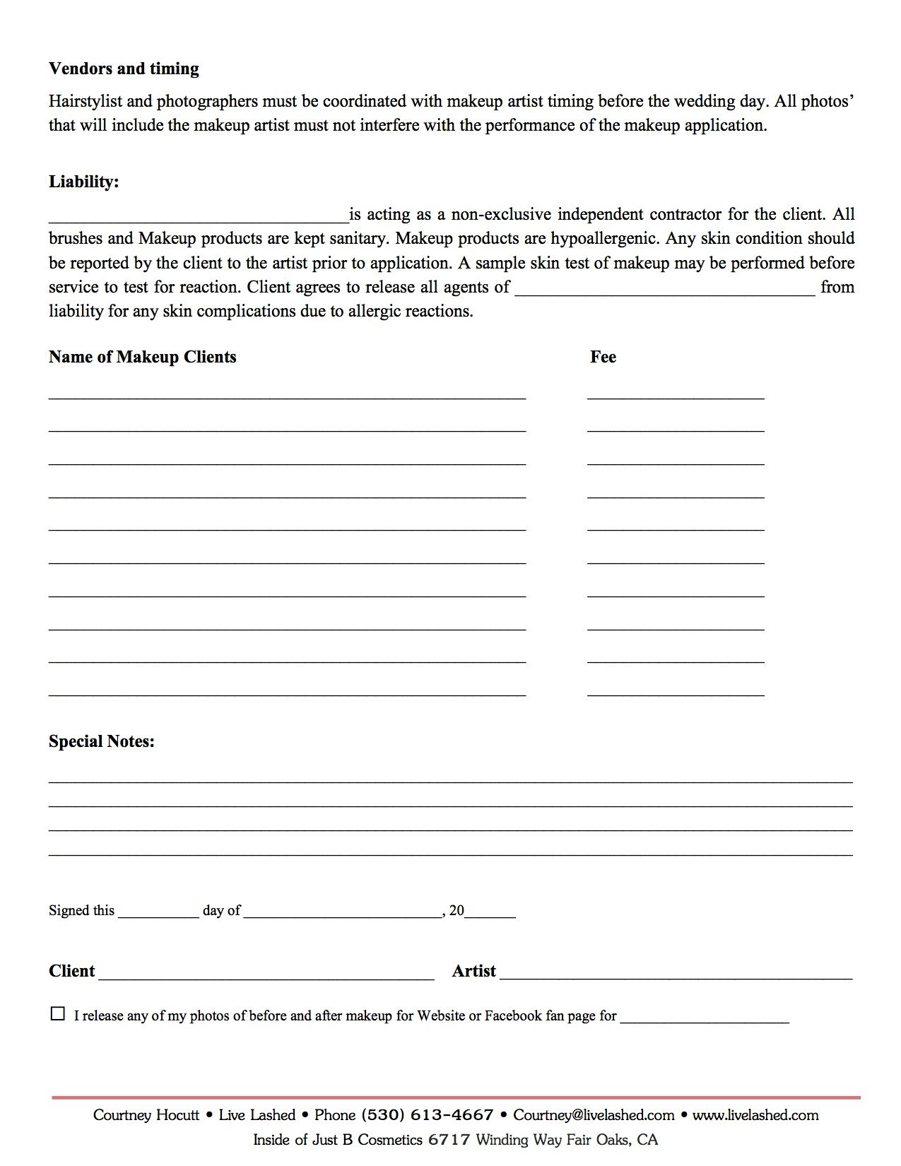 Makeup Artist Contract Template Pdf