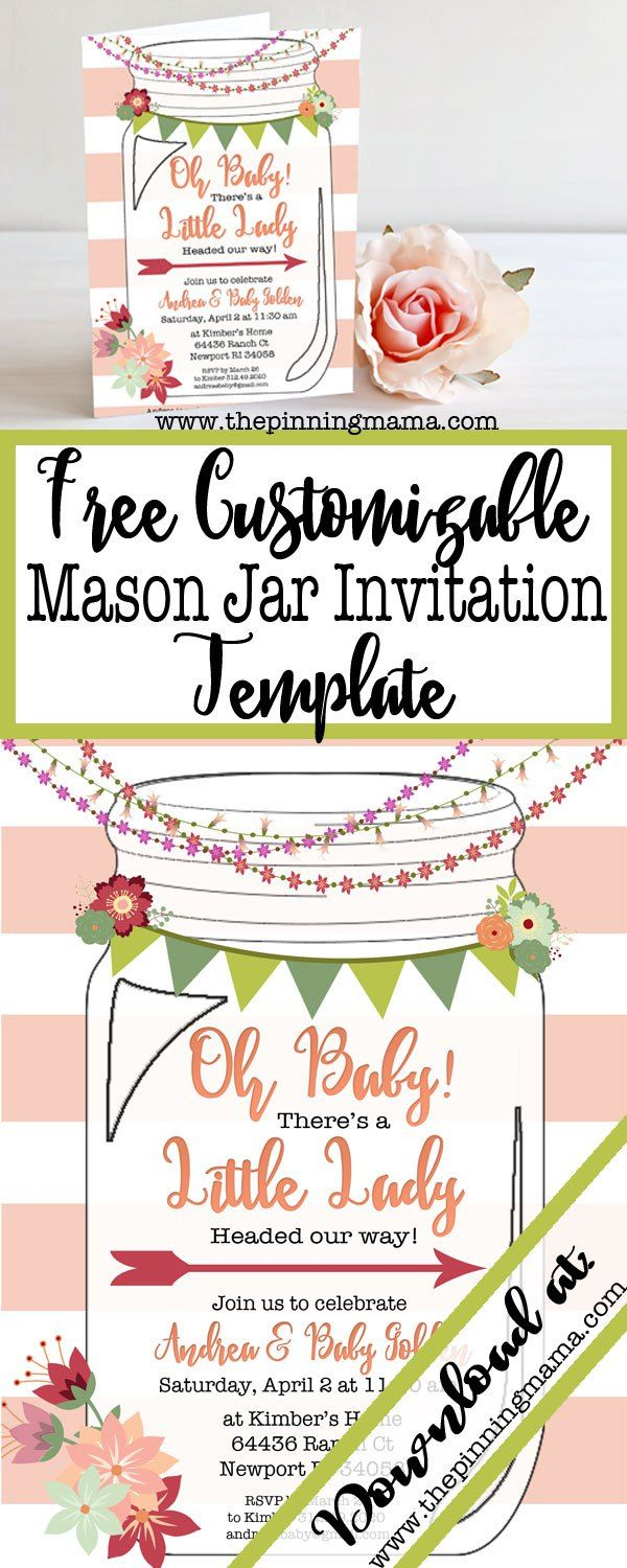 Mason Jar Invitation Template Free
