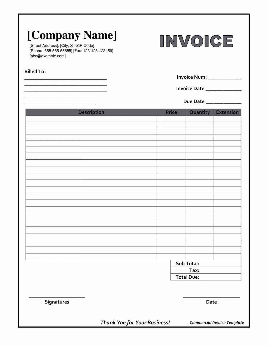 Mechanics Invoice Template Free