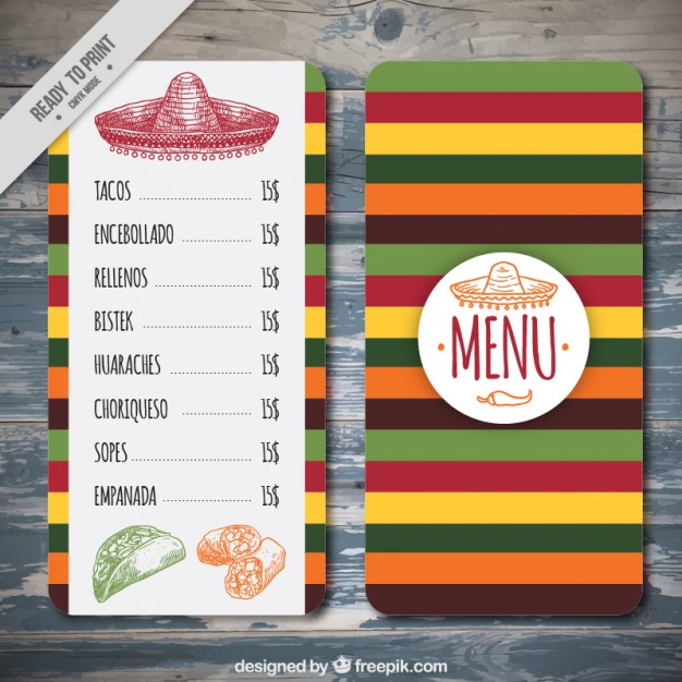 Mexican Menu Template Free Download