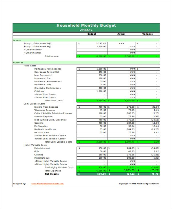 Monthly Household Budget Template Excel