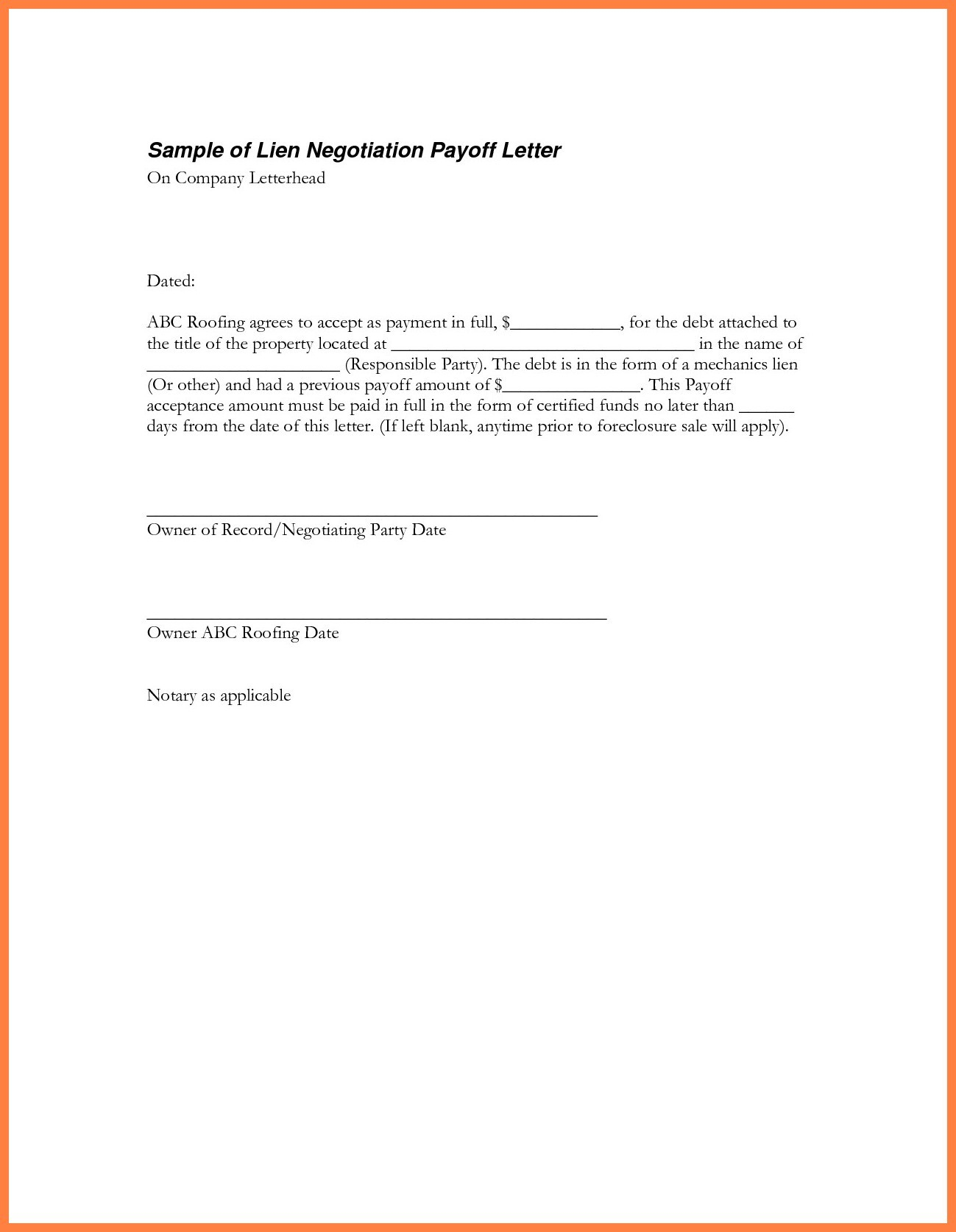 Inspiration 9 Best Sample Loan Payoff Letter Form Loan Payoff