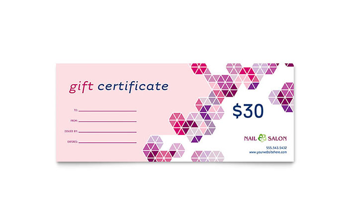 Nail Salon Gift Certificate Template Free Printable