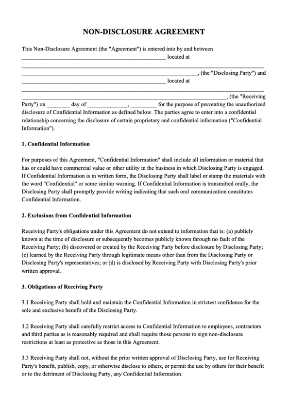 Nda Agreement Template Pdf