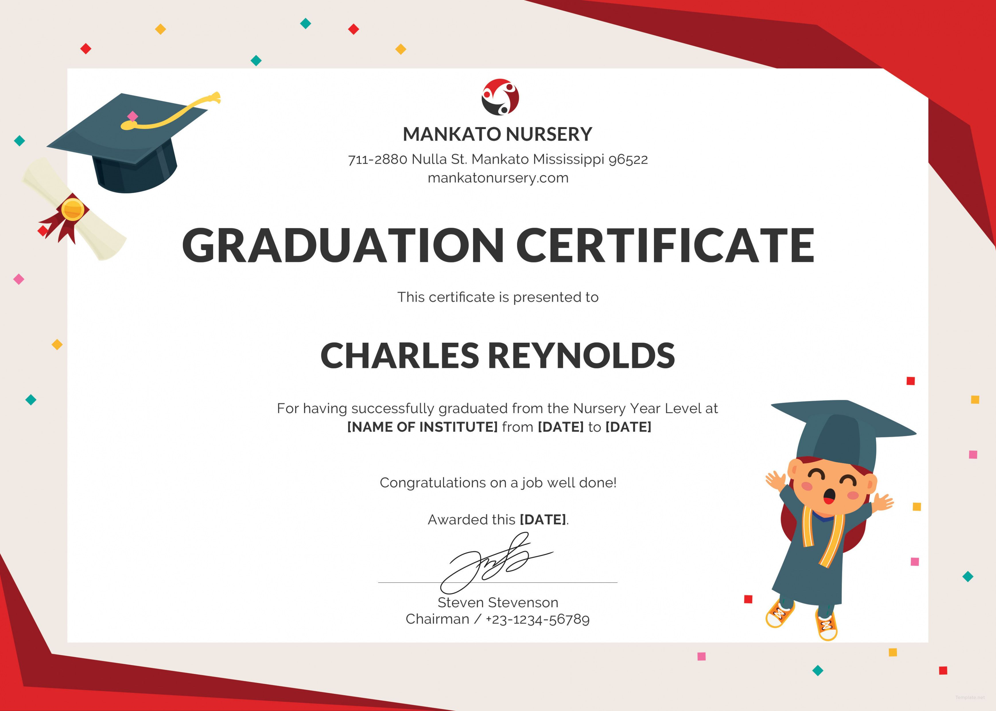 Nursery Graduation Certificate Template Free