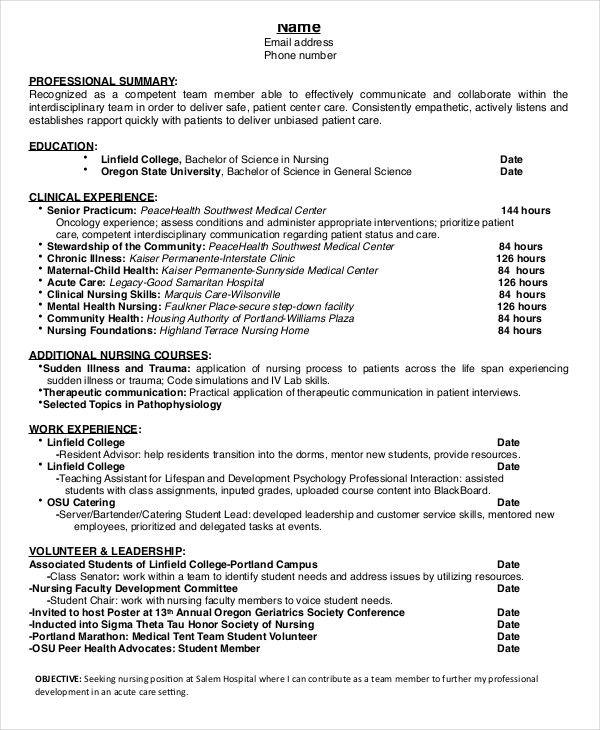 Nursing Student Resume Template