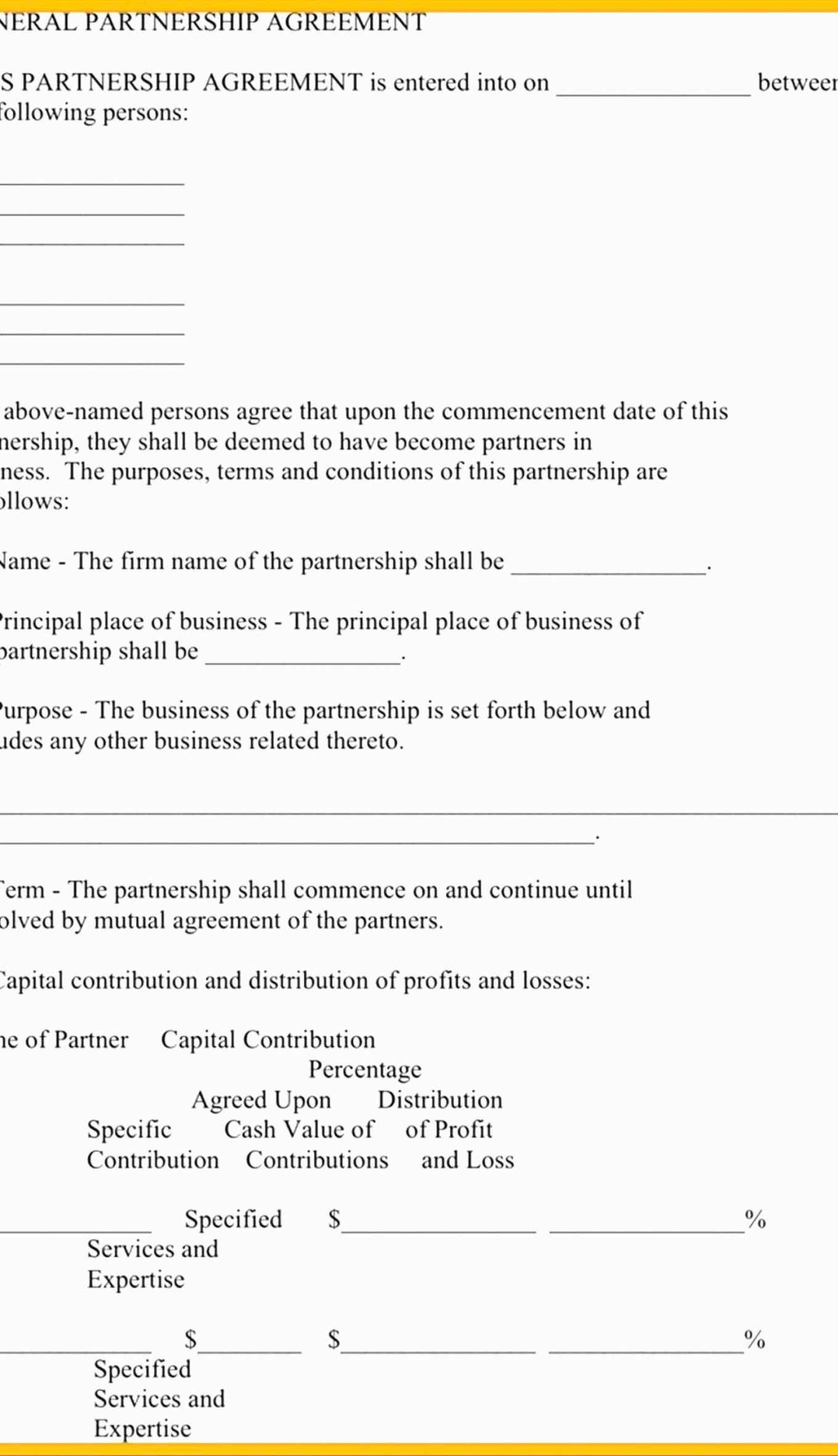 Here The Profit Sharing Contract Template Elegant Free Partnership Agreement Partnership Profit Sharing Agreement Template