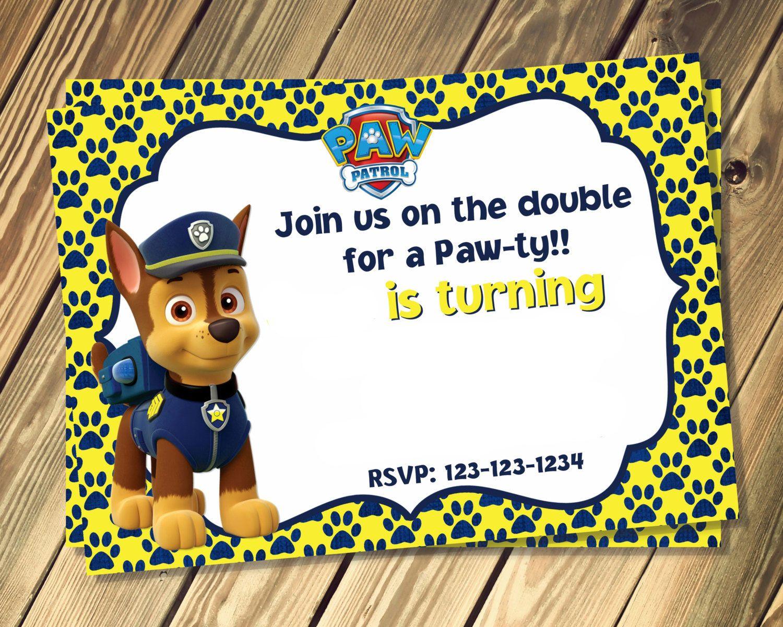 Paw Patrol Birthday Invites Template