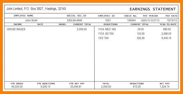 Payroll Stub Template Excel