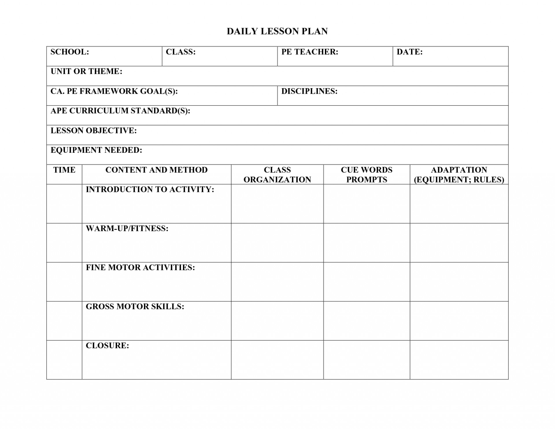 Pe Lesson Plan Template Doc
