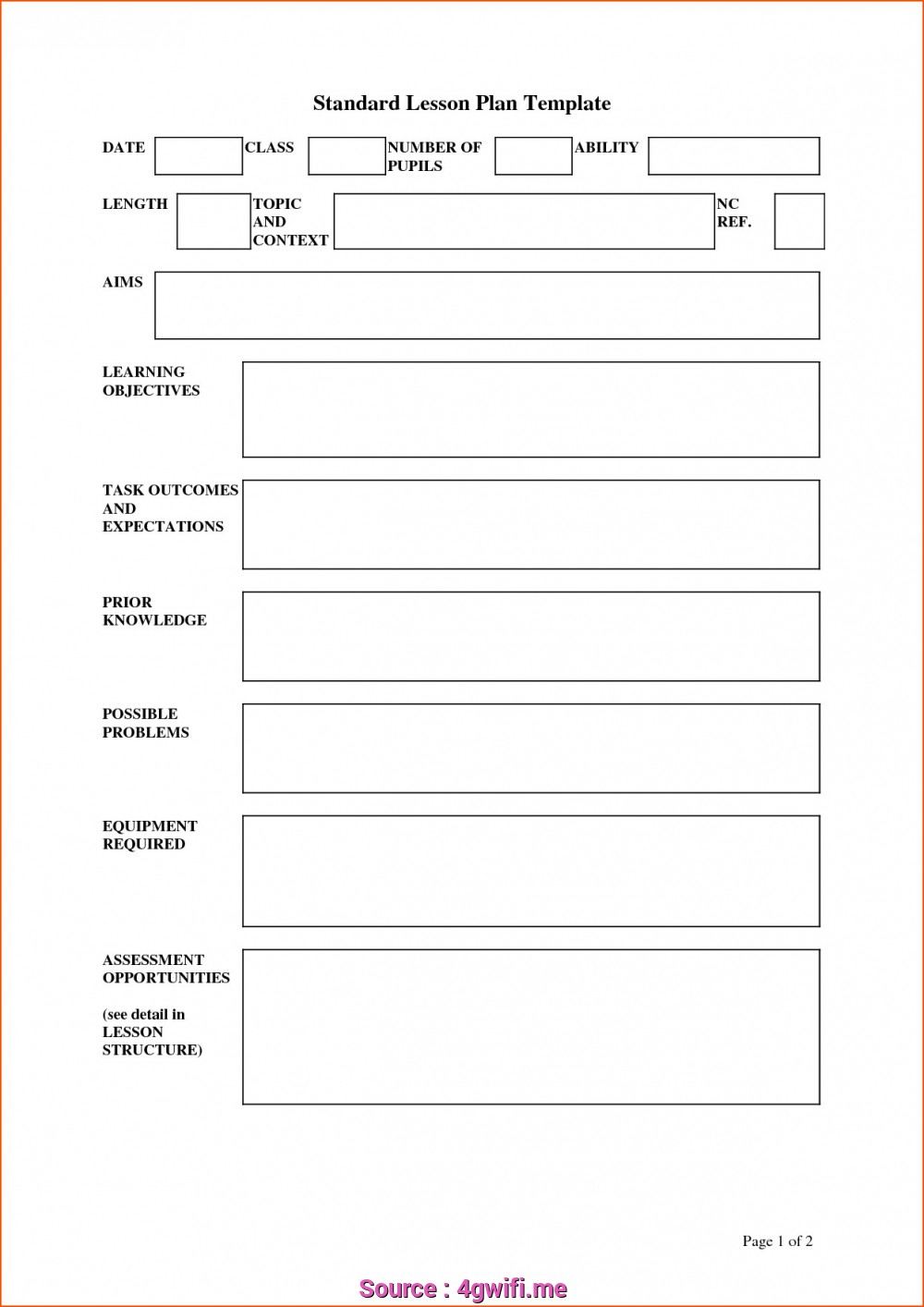 Pe Lesson Plan Template Uk