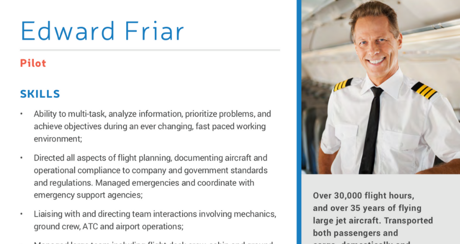 Pilot Resume Template Download