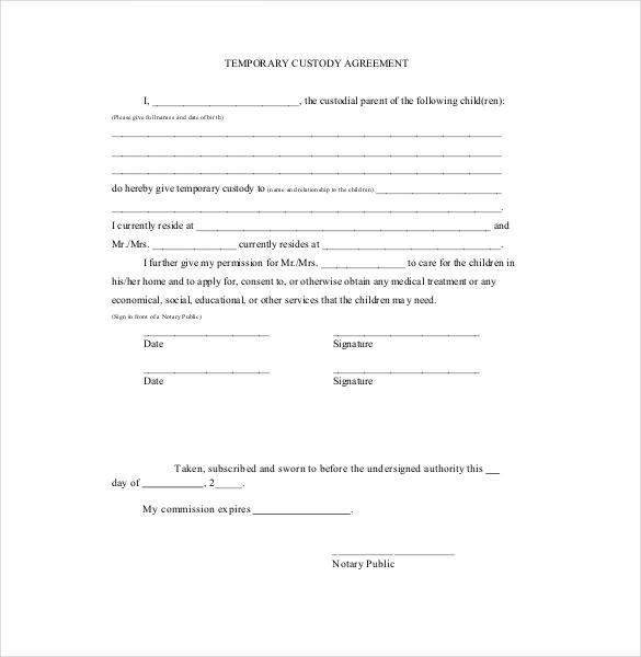 Printable Child Custody Agreement Template