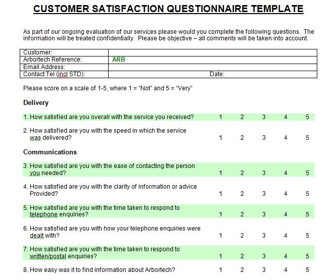 Printable Customer Satisfaction Survey Template Word