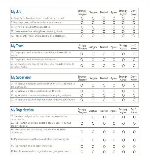 Printable Employee Survey Template