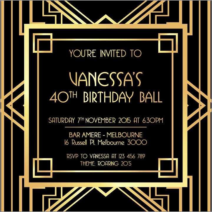 Great Gatsby Invitation Template Free Download Beautiful Great Gatsby Digital Printable Invitation Template Black