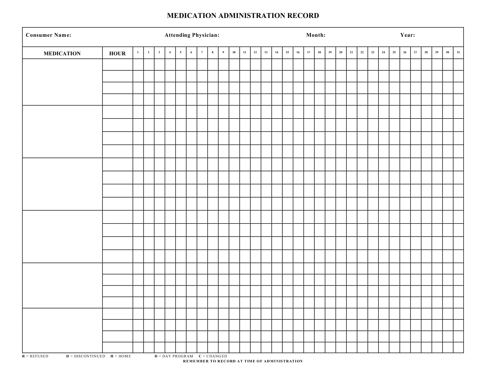 Printable Medication Administration Record Template