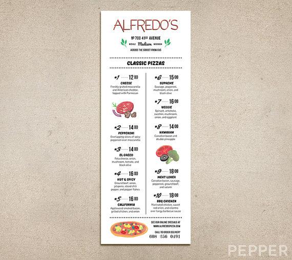 Printable Pizza Menu Template