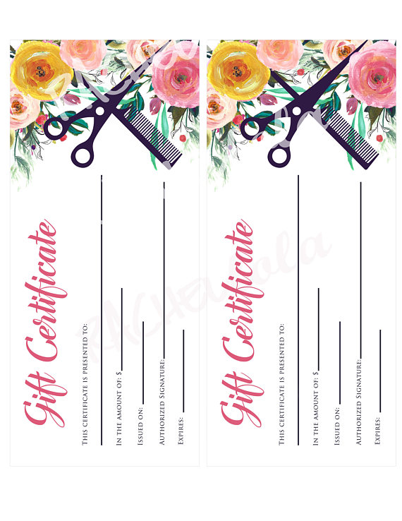 Printable Salon Gift Certificate Template