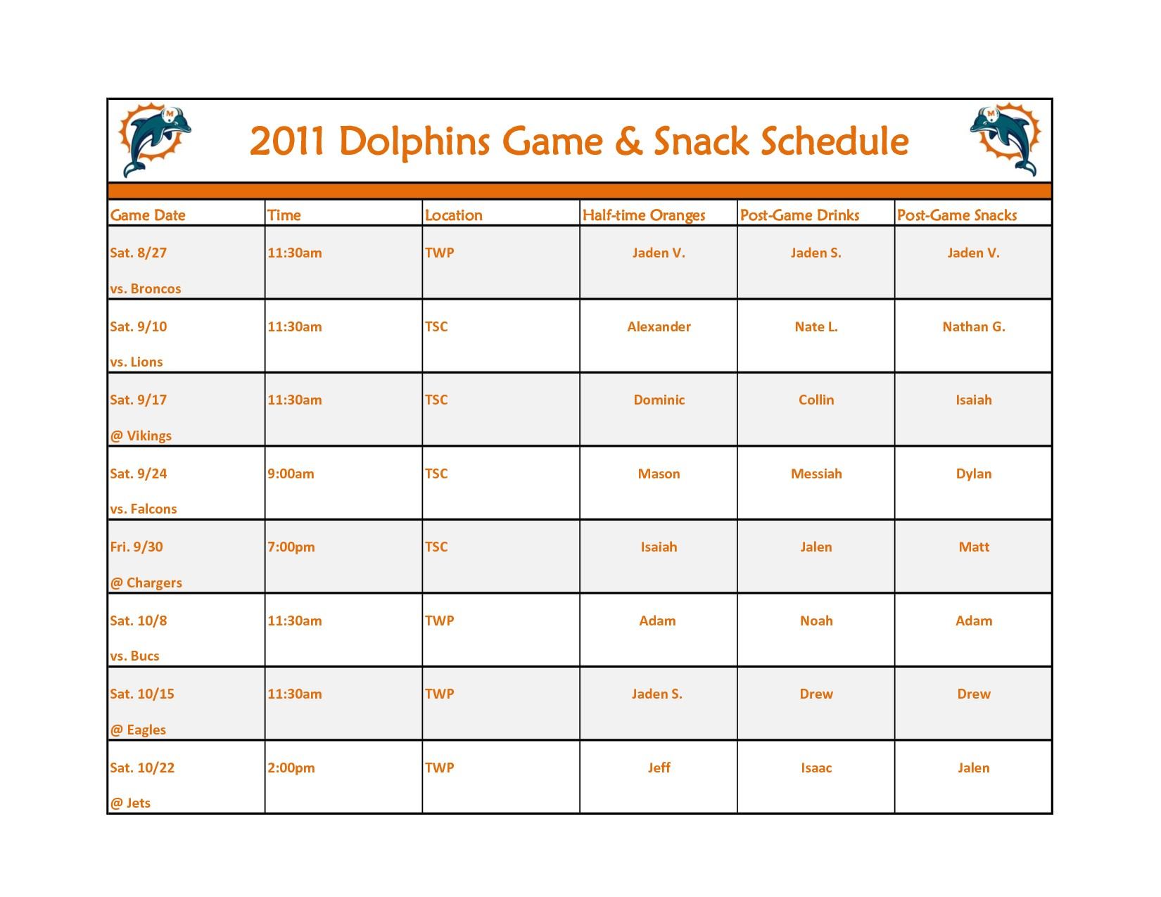 Printable Snack Schedule Template