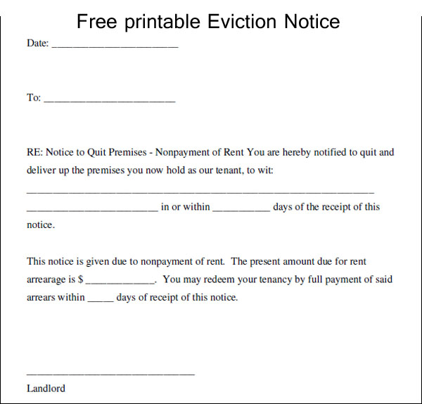 Printable Texas Eviction Notice Template