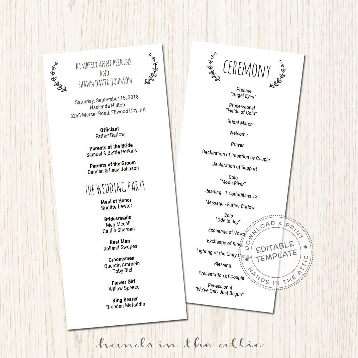 Printable Wedding Reception Program Template