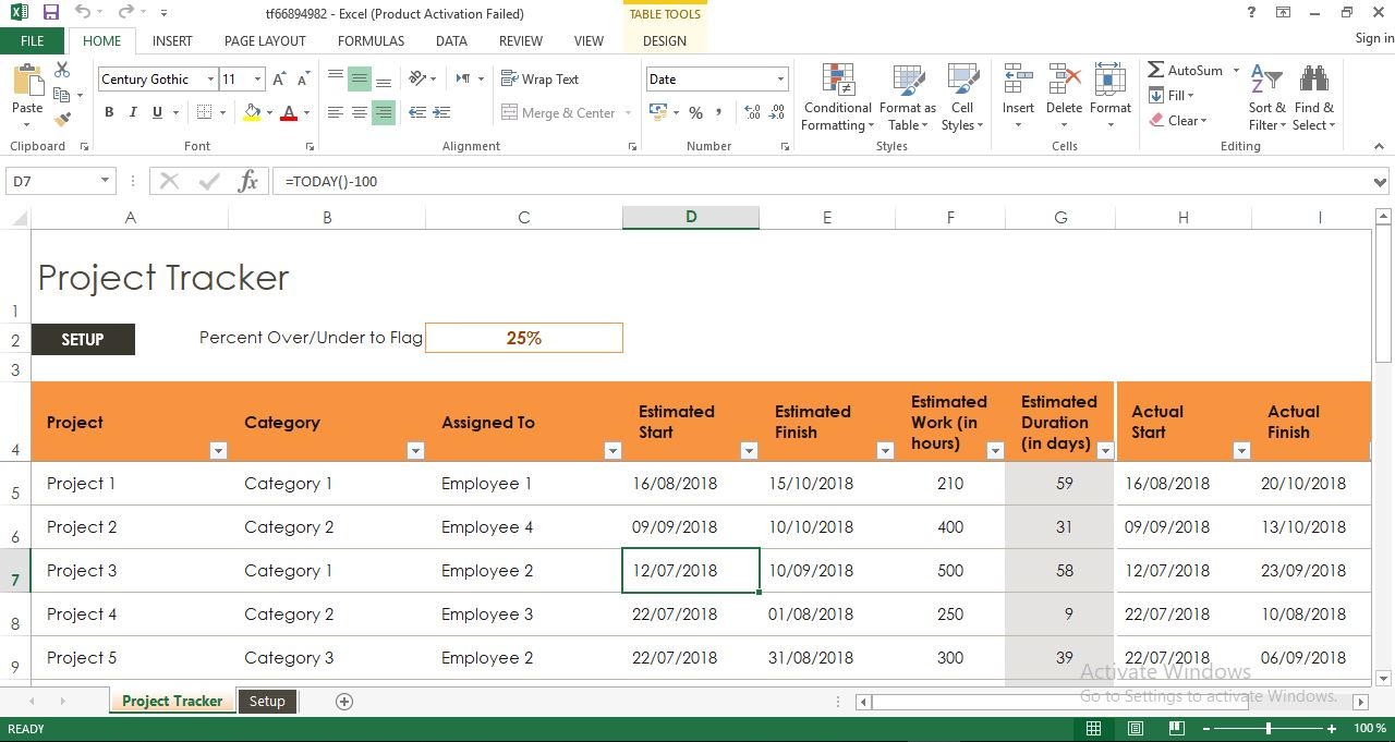 Project Tracker Project Management Template Excel