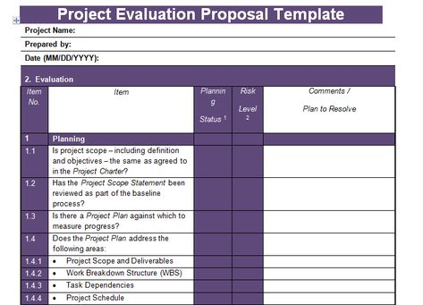 Proposal Evaluation Template Excel