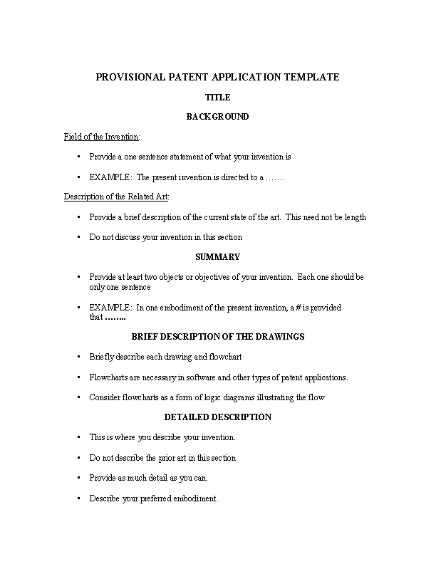 Provisional Patent Application Template Free
