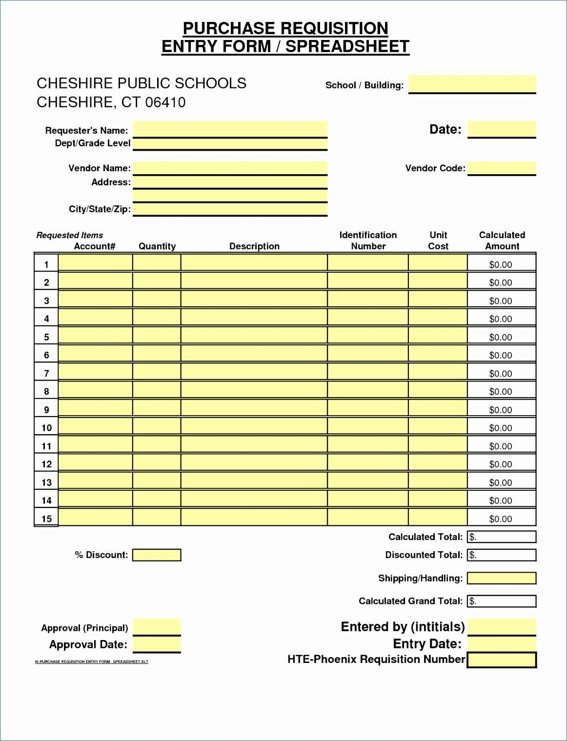 Order Form Template Excel Decent 12 Purchase Requisition Template Excel Exceltemplates