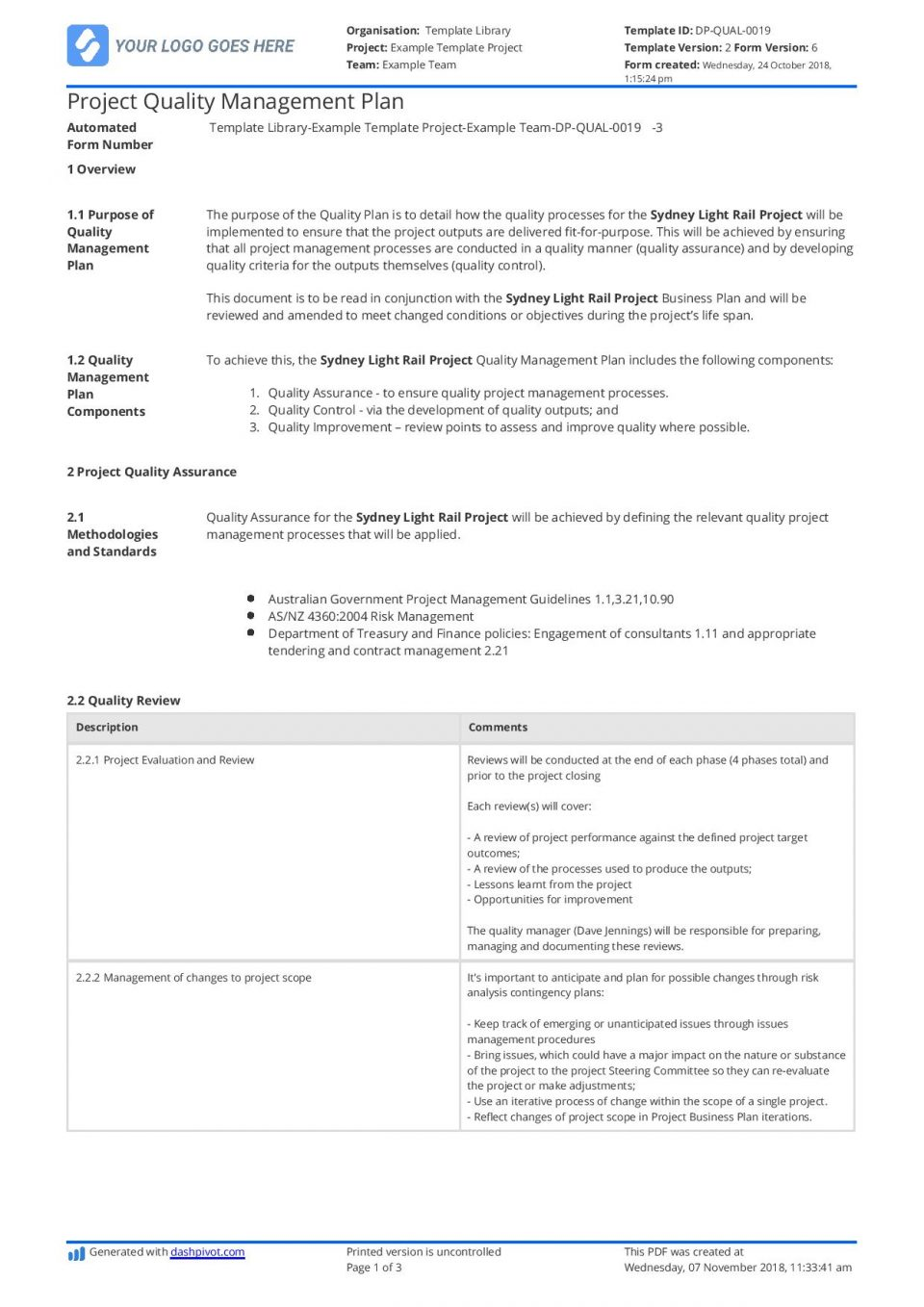 Quality Assurance Plan Template Nz