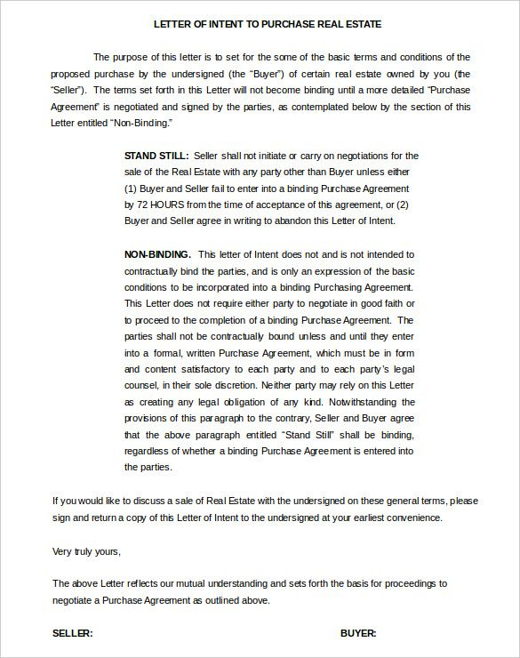 Real Estate Property Letter Of Intent Template